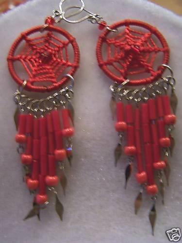 BRIGHT RED BEADED DREAM CATCHER EARRINGS ALPACA SILVER