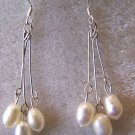 3 WHITE FRESH WATER PEARL DROP EARRINGS IN 925 STERLING