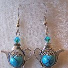 SO CUTE! TURQUOISE~SWAROVSKI CRYSTAL TEA POT EARRINGS