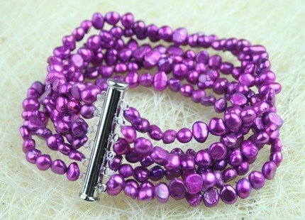 ELEGANT IN 8 STRANDS OF PURPLE CULTURED PEARL BRACELET