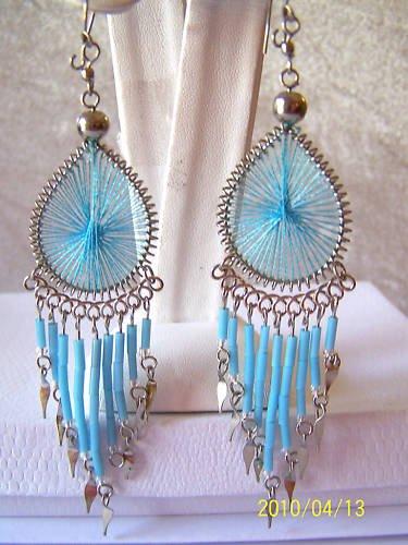 PEAR SHAPED PALE BLUE THREAD DREAM CATCHER EARRINGS
