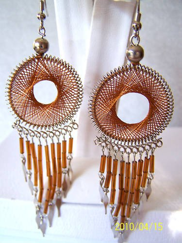 VERY UNIQUE! ROUND BROWN THREAD DREAM CATCHER EARRINGS