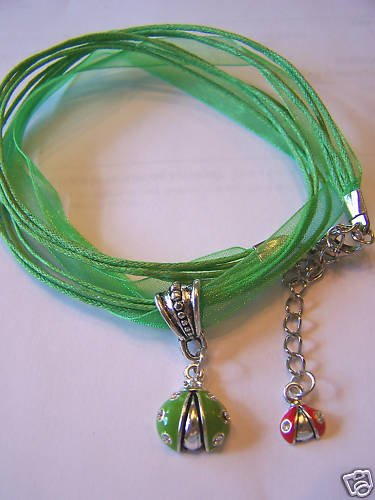 LOVE THIS GREEN LADY BUG VOILE NECKLACE & PENDANT