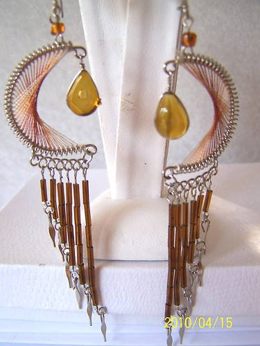 CUTE SOFT BROWN THREAD DREAM CATCHER EARRINGS IN SILVER
