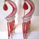 CUTE BRIGHT RED THREAD DREAM CATCHER EARRINGS IN SILVER