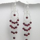 ELEGANT CHANDELIER GARNET DANGLE EARRINGS~925 STERLING
