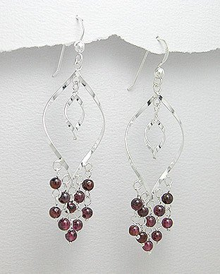 CHANDELIER GARNET DANGLE EARRINGS~925 STERLING SILVER