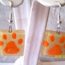 CUTE SQUARE ORANGE~WHITE TIGER PAW FUSED GLASS EARRINGS