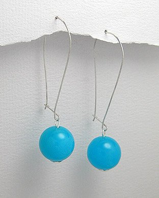 "SEMI-PRECIOUS AQUA JADE BALL 2"" DANGLE EARRINGS SILVER"
