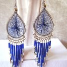 CUTE ROYAL BLUE THREAD DREAM CATCHER EARRINGS IN SILVER