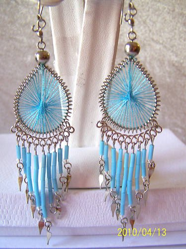 CUTE BABY BLUE THREAD DREAM CATCHER EARRINGS IN SILVER