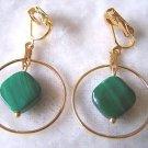 CLIP ON GREEN MALACHIITE GOLDTONE & DANGLE EARRINGS