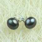 LOVELY 7MM BLACK FRESH WATER CULTURED PEARL EARRINGS