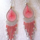 LOVELY  RED THREAD DREAM CATCHER EARRINGS IN SILVER