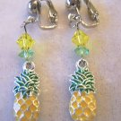 CLIP ON PINEAPPLE EARRINGS 925 STERLING/ENAMEL CHARM