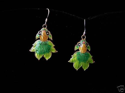 BEAUTIFUL CLOISONNE FANTAIL FISH EARRINGS 925 STERLING