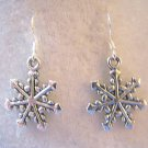 CUTE SNOW FLAKE EARRINGS IN TIBET SILVER~925 STERLING