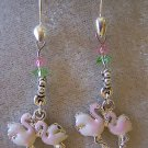 DARLING FLAMINGO DANGLE EARRINGS IN ENAMEL & SILVER