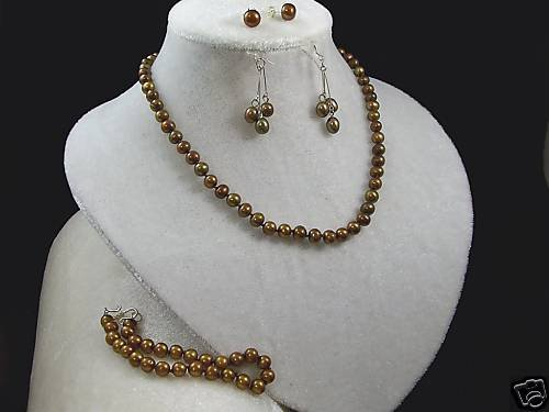 "6MM CHOCOLATE PEARL 22"" NECKLACE~NECKLACE~EARRINGS"