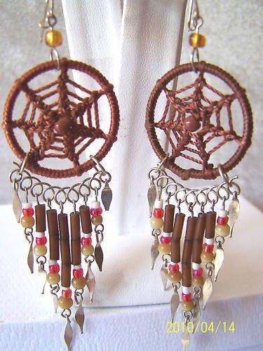 BROWN BEADED DREAM CATCHER EARRINGS & ALPACA SILVER