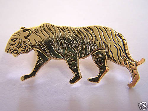 BEAUTIFULSOLID BRASS TIGER LOVERS PIN W/ SAFETY CLASP