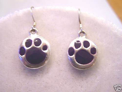 TIGER FANS WILL LOVE THESE PURPLE TIGER PAW  EARRINGS