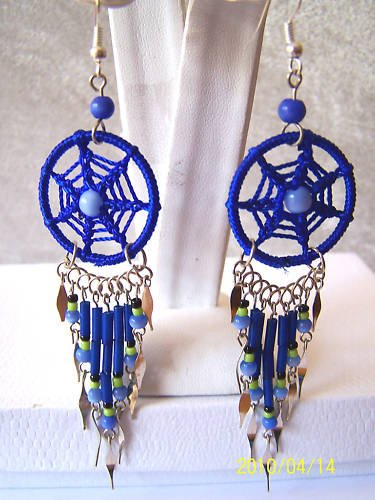 CUTE ROYAL BLUE DREAM CATCHER EARRINGS & ALPACA SILVER