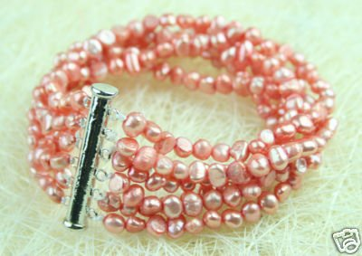 ELEGANT IN 8 STRANDS OF PEACH CULTURED PEARL BRACELET