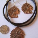COPPER INDIAN CHIEF HEAD PENDANT NECKLACE & EARRINGS