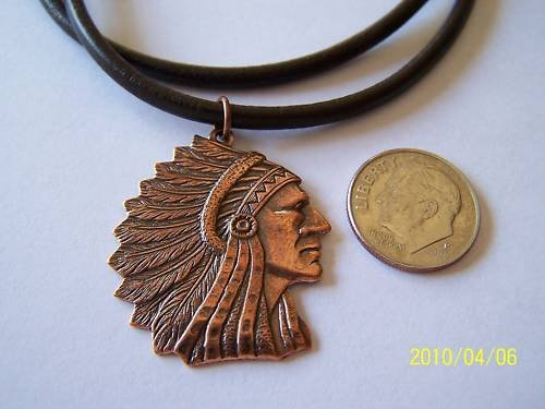 INDIAN CHIEF HEAD & FEATHER BRONZE PENDANT NECKLACE