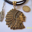 INDIAN CHIEF HEAD & FEATHER BRASS PENDANT NECKLACE