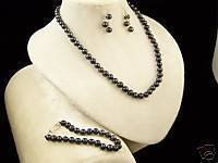 "CULTURED BLACK 7MM PEARL 16"" NECKLACE~BRACELET~EARRINGS"