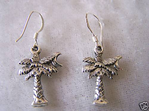 LOVELY UNIQUE PALM TREE & CRESCENT MOON SILVER EARRINGS