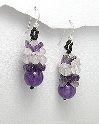 DIFFERENT AMETHYST AND MOONSTONE EARRINGS IN STERLING