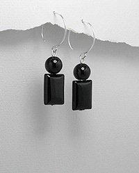 UNUSUAL GREAT DROP BLACK ONYX 3D EARRINGS~ 925 STERLING