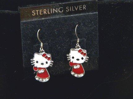 TOO CUTE HELLO KITTY STERLING & ENAMEL EARRINGS IN RED