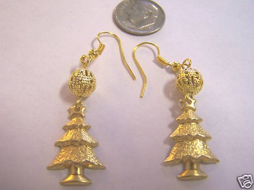UNIQUE GOLD PLATED CHRISTMAS TREE  PIERCED EARRINGS