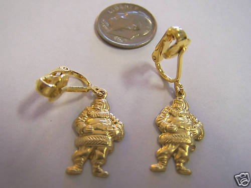 SO CUTE GOLD PLATED SANTA CLAUS CLIP ON EARRINGS
