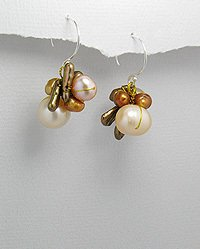 SPECIAL CHOCOLATE & PEACH PEARL DANGLE CLUSTER EARRINGS