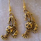 HOLD THAT TIGER! GOLD OVER STERLING CUTE TIGER EARRINGS