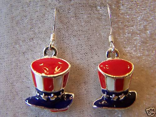 UNCLE SAM'S HAT IN RED~WHITE~BLUE & STERLING & ENAMEL