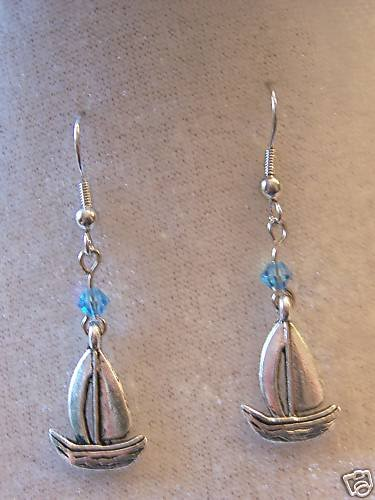 SAIL AWAY WITH THESE SHIP & SWAROVSKI CRYSTAL EARRINGS