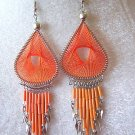 ANOTHER NEW ORANGE THREAD DREAM CATCHER EARRINGS~SILVER