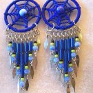 BLUE BEADED DREAM CATCHER EARRINGS & ALPACA SILVER