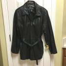 PREOWNED NEW YORK & COMPANY LADYS SIZE LARGE BLACK LEATHER JACKET ZIPPER FRONT
