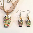 DARLING HANDMADE GLASS OWL PENDANT & MATCHING EARRINGS IN BROWN