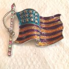 OLD GLORY FLAG BROOCH IN SILVER TONE WITH PASTEL MULTICOLORED CRYSTAL ACCENTS