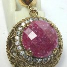 BEAUTIFUL RUBY AND WHITE TOPAZ ACENT STONES PENDANT IN 925 STERLING SILVER