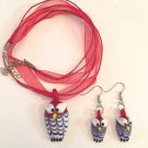 DARLING HANDMADE GLASS OWL PENDANT & MATCHING EARRINGS IN RED - FREE SHIPPING