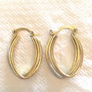 TEAR DROP SHAPE TRIPLE LAYER DROP HOOP EARRINGS IN YELLOW & WHITE GOLD PLATE #5